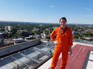 Flight Physician Kristie Horton atop Buffalo General Medical Center.