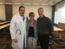 From left to right: Dr. David Zlotnick ( UBMD Interventional Cardiology), Dr. Essie Reed (UB EM Chief Resident), and Dr. Ken Milne (EM physician/ Founder of The Skeptics' Guide to Emergency Medicine) pictured together after performing a live podcast on The Skeptics' Guide to Emergency Medicine.