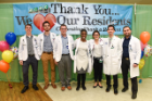 Medical Students Austin Iovoli, Syed Adil and Alex Garson join residents Dr. Sarah Ackah, Dr. Jennifer Tarakmi, Dr. Michael Pham and Dr. Shane Varghese at the luncheon sponsored by ECMC physicians in honor of the 2019 Thank A Resident Week celebration.