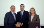 James R. Hereth, MD (center), received the 2015 Robert S. Berkson, MD, Memorial Award from Anne B. Curtis, MD, and Michael E. Cain, MD.