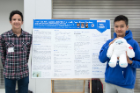 "Joshua Kiswani, left, and Yuichiro Arima, from Westfield Academy and Central School, present their research project that found a ""yeti"" hair DNA sequence actually came from a Tibetan Blue Bear."