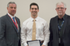 Steven Avino received the Donald W. Rennie Physiology Award. Presenting were Michael E. Cain, MD, left, and Perry M. Hogan, PhD.