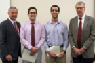 Andrew Fink, second from left, and Carl Hashem received the Kornel Terplan Award for the highest averages in pathology. Presenting the honor were Richard T. Cheney, MD, right, and Michael E. Cain, MD.