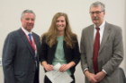 Jenna Herskind received the John B. Sheffer Award from Richard T. Cheney, MD, right, and Michael E. Cain, MD.