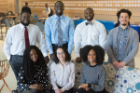 Class of 2022 members of the UB chapter of the Student National Medical Association include, from front left, Sherice Simpson, Nilda Valenzuela and Shanice Guerrier. Back row, from left, are Shawn Gibson, Neneyo Mate-Kole, Aswad Jackson and Jarrett White.