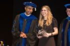 Roswell Park Graduate Division Award for Excellence in Research winner Kelly L. Singel, PhD '17, poses with Naveen Bangia, PhD, associate dean of graduate studies at Roswell Park Comprehensive Cancer Center.