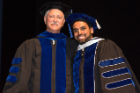 Doctoral graduate Sriganesh Ramachandra Rao poses with his mentor, Steven J. Fliesler, PhD. Rao won the Biochemistry Dissertation Research Recognition Award.