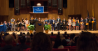 Award winners pose during the 2019 Honors Convocation May 3 at the Lippes Concert Hall inside Slee Hall on UB's North Campus.