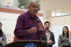 Vijay H. Aswani, MD, PhD, offers his thanks after accepting the award for faculty in clinical training at the 2019 Louis A. and Ruth Siegel Awards for Excellence in Teaching that took place in April at the Jacobs School.