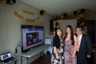Grace Guadalupe with her parents at her virtual commencement ceremony. She will conduct research for a year before beginning a residency in family medicine.