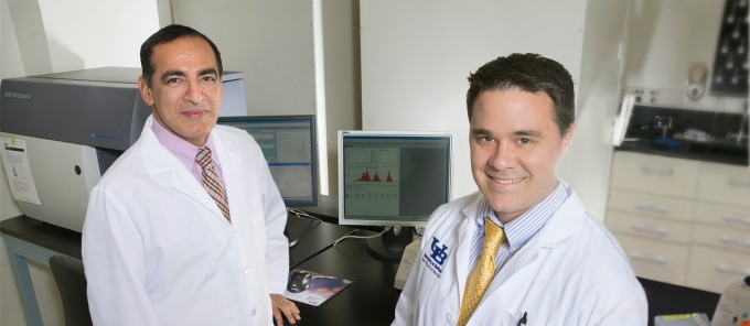 Pulmonary and critical care fellow Kenneth Burns, MD, and division chief Sanjay Sethi, MD.