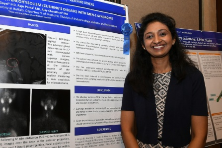 Itivrita Goyal in front of her poster at the 2017 Dept of Medicine Research Day.