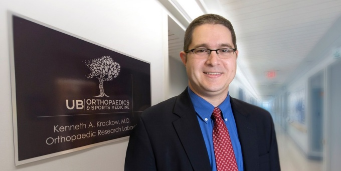 Mark Ehrensberger, PhD, at the Kenneth A. Krackow, MD, Orthopaedic Research Laboratory.