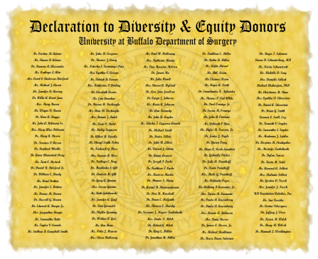 Declaration to Diversity and Equity Donors, Jacobs School Department of Surgery.