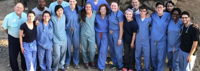 Medical students posing for a picture in Haiti.