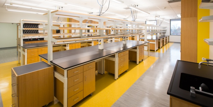 A view of a laboratory setup at Jacobs School of Medicine and Biomedical Sciences.