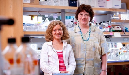 Biochemistry Faculty Lee Ann Sinha and Student Lisa Russell.