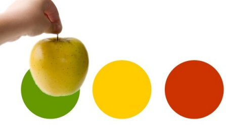 Example of a fruit compared to tri-color palette.